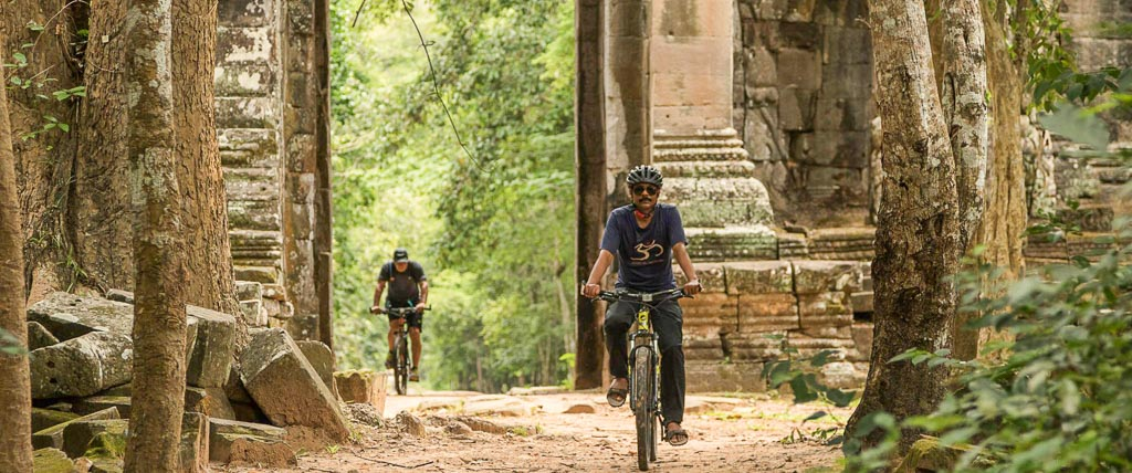 Temples and countryside on mountain bikes
